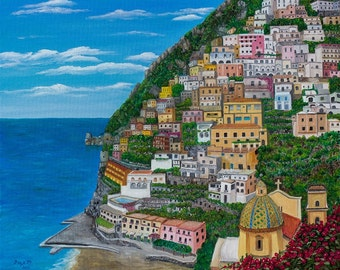 """Italy Landscape Oil Painting Positano on the Amalfi Coast 24 x 30"""" Stretched Canvas"""