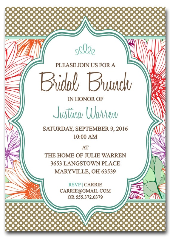 Bridal Shower Brunch Invitation BRIDAL BRUNCH Digital – Lunch Invitation Template