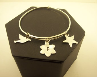Personalized  Silver Bracelet hand made with Custom Monogram initials and sterling silver as  adjustable  banglet