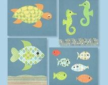 Ocean Nursery Decor, Fish Nursery, Blue and Green Nursery, Orange and Blue Nursery, Boys Room, Nautical Nursery, Aquarium, Fish Themed Room