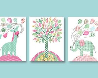 Aqua and Pink Nursery, Elephant Nursery, Giraffe Art, Balloons, Shabby Chic, Vintage Nursery Decor, Girl's Room, Baby Girl, Toddler, Canvas