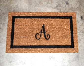 Doormat / Welcome Mat Personalized with Single Custom Initial Monogram  -  Capital letter with border - made from natural coir