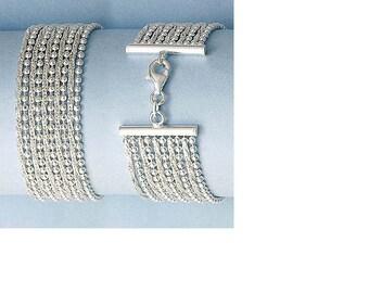 Silver Bracelet - 925 sterling silver bracelet bead link bracelet