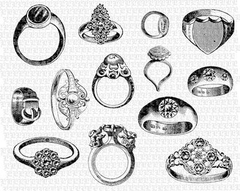 Rings Clip Art Jewelry Vintage Clip Art Illustrations High Quality Printable Graphic 1396