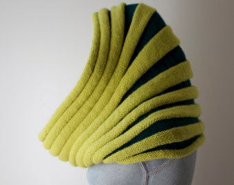 Beautiful Hand Knit Cowl Hood; Emerald Green and Yellow; Ribbed Texture; 100% Wool