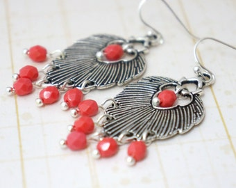 50% OFF Coral and antique silver leaf boho chandelier earrings 1