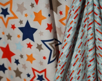 Stars in Gray Red and Navy - Car Seat Canopy/Cover