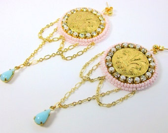 Dauphine Earrings Pastel Beaded Rococo Style Marie Antoinette Inspired Jewelry