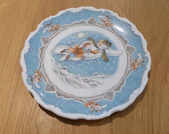 "Royal Doulton The Snowman 20cm Plate ""Walking in the Air"" 1985 Raymond Briggs"