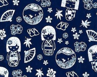 JAPANESE INDIGO KATAGAMI Fabric: Dolls (1/2 Yd Increments)