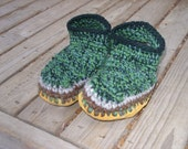 Custom-made wool crocheted slippers with sheepskin and moosehide soles size Adult small