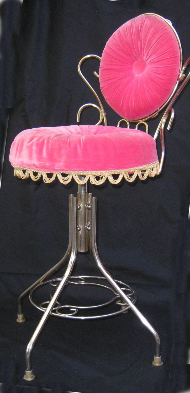 Vintage Hollywood Regency 50 S Vanity Velvet Chair Stool