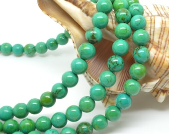 16 IN  Green Turquoise  Round   Bead 8mm