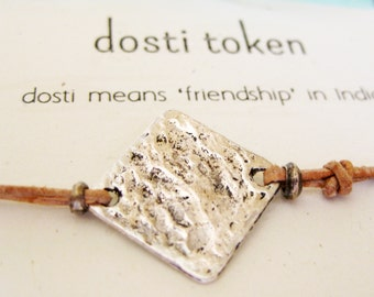 Leather Friendship Bracelet - Hammered Antique Silver Square Disc - Modern Geometric, Rustic Everyday - Favor, Gift