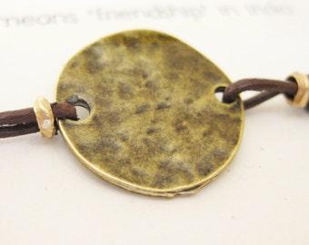 Leather Friendship Bracelet -  Round Antique Brass Disc - Modern Geometric, Rustic Everyday - Favor, Gift