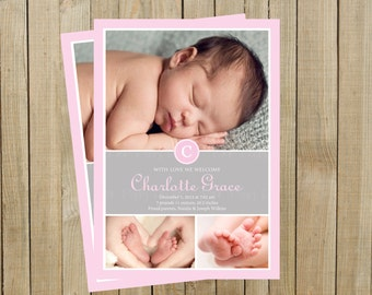 Lovely Modern Photo Birth Announcement, Pink, New Baby, Girl, Printable, Custom Digital File