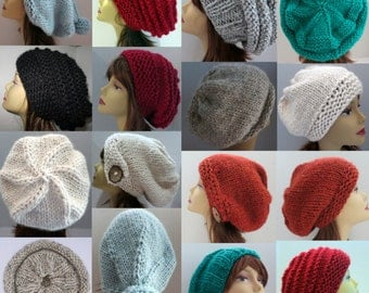 Hat Knitting Pattern to Make 36 Different Hats Slouch Hat Slouchy