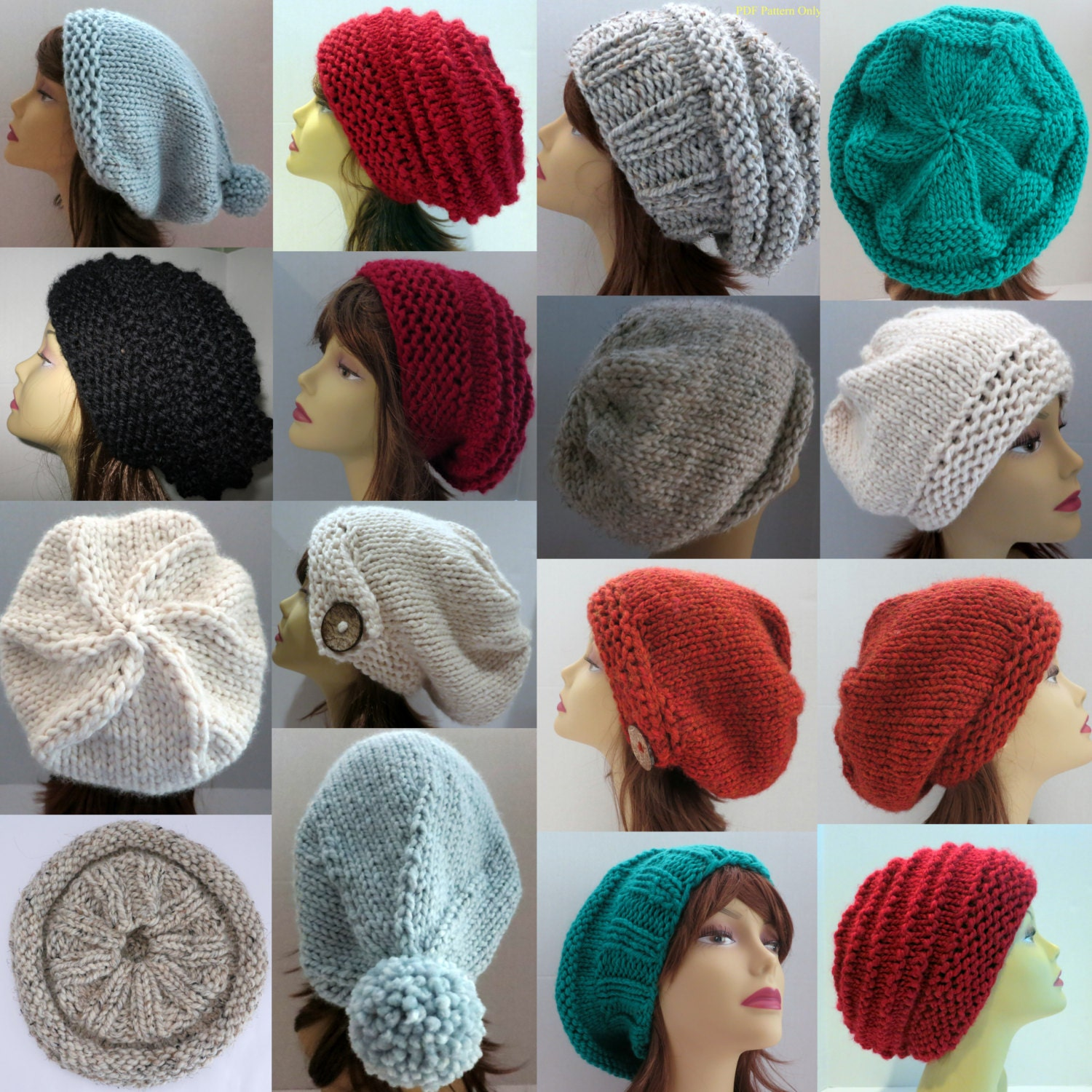 Different Knitting Stitches For Hats : Hat Knitting Pattern to Make 36 Different Hats Slouch Hat