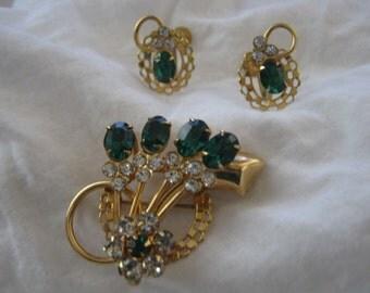 Vintage rhinestones brooch and earrings set on goldtone metal, vintage costume earrings and brooches, pendants, Art Deco style Jewelry set