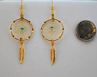 Handmade Gold Dreamcatcher Earrings with Green and Gold beads, dream catcher earrings, Native American inspired, lightweight earrings