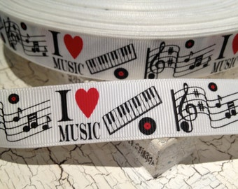"7/8"" I Love Music Themed Grosgrain Ribbon sold by the yard"