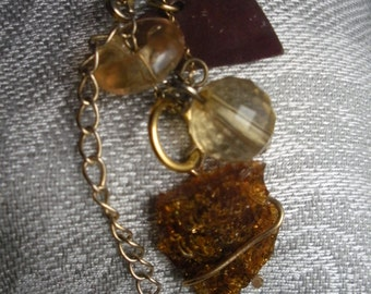 Vintage Amber Sea-glass, Lucite and Copper Heart Pendant