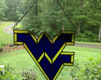 "West Virginia University ""WVU"" Stained Glass Suncatcher"
