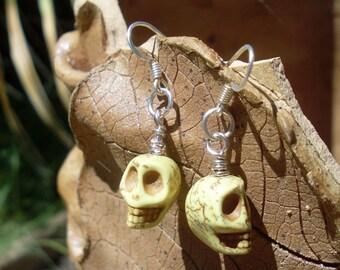 Carved Magnesite Skull Earrings -- Yellow