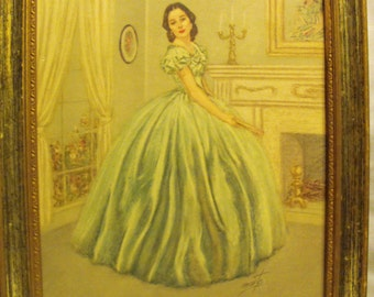 Vintage copy of a beautiful lady in green ballroom dress next to fire mantel w/her self portrait hanging above mantle signed Monte