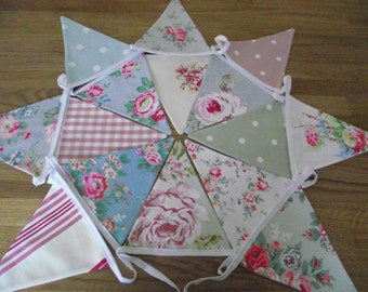 Handmade Fabric Bunting with Cath Kidston, Laura Ashley and Clarke & Clarke Polka Dot, Floral and Gingham fabrics