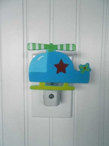 Helicopter Night Light Boys Room Decor Boy Nursery Decor