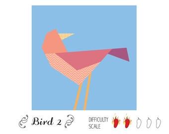 Bird 2 paper pieced quilt pattern in PDF