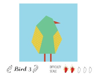Bird 3 paper pieced quilt pattern in PDF