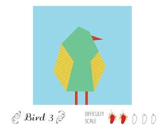 Bird 3 paper pieced quilt pattern in PDF