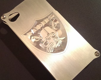 iPhone 4 & 4s - Custom Raiders Logo Engraved Aluminum Metal iPhone Hard Case Cover - Made in USA by BadassCase.Co