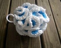Eco-Friendly Cotton Bath Pouf  - Blue and White Loofa Bath Scrubby Bath Scrub Face cloth body cloth body pouf bath sponge