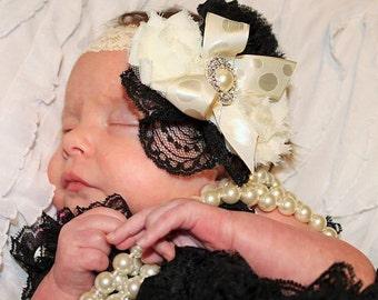 Ivory Headband/Black Headband/Shabby Chic Headband/Baby Headwear/Infant Headband/Baby Headband/Toddler Headband/Girls Headband/Headband
