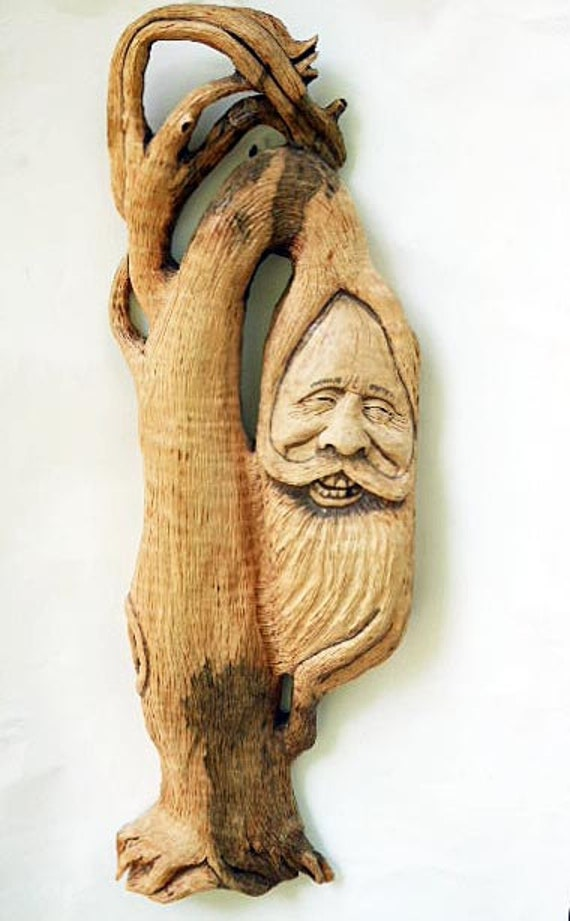 Tree spirit wood carving curly maple wall hanging by