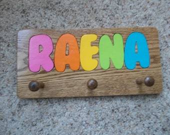 Child Personalized Coat Rack - Any childs name up to 8 characters - Solid Oak - Stained to your choice of Minwax Stains or Clear Coat Finish