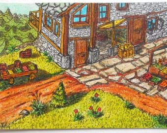 Aceo art card, original art aceo, ink and pencil drawing 'Kvaldaruul Hights Backery Street', Ancient fantasy world series