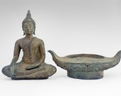 Large Thai Buddha Statue. Bronze 'Sukhothai' style sculpture in 'Earth Touching' Pose brings compassion & wisdom. Beautifully handcrafted.