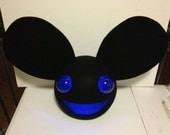 All Black Mouse Mask with blue light Home Made Deadmau5 Head Replica