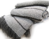 Lambswool and Angora Mohair Queen, King Size Blankets, No Synthetics, Gray w/ Dark Gray Stripes