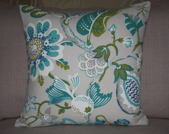 SALE 15% OFF OUTDOOR - Tropical, Exotic 20x20, Coordinating, Decorative Throw Pillow Cover - Kiwi, Turquoise, Blue, White, Teal, Grey