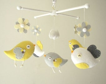 "Baby crib mobile, Bird mobile, felt mobile, nursery mobile, baby mobile,""Bird - yellow and grey"""