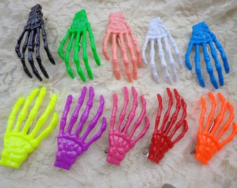SALE--30 PCS Mixed colors  (10 colors) skeleton hand hair clips
