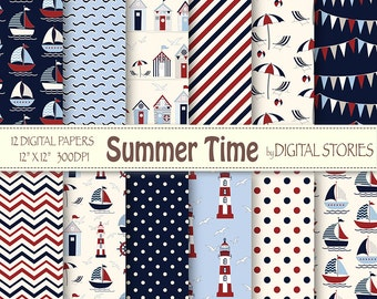 "Nautical Digital Papers: ""SUMMER TIME"" Navy Summer Papers, lighthouse, beachhuts, boats for scrapbooking, invites, cards"