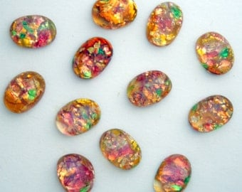 12 Vintage Glass Fire Opal Cabochons - 6 x 8 mm Oval Cabochons