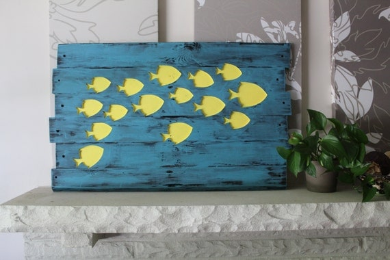 Free shipping reclaimed wood wall art school of by craftaways for School of fish wall art