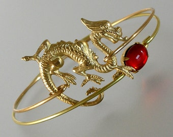 Gold Dragon and Red Glass Bangle Bracelet Set, Gold Bangle Bracelet, Gold Bracelet, Asian Jewelry (S128smG.)